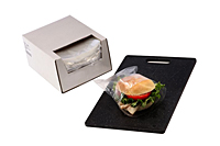 "0.75 mil Sandwich Bags in Dispenser Box, 7 x 7"" + 1.5 BF-0"