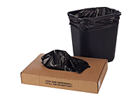 "7-10 Gallon 0.58 Mil Black LLDPE Liners, 15"" x 9"" x 23""-0"